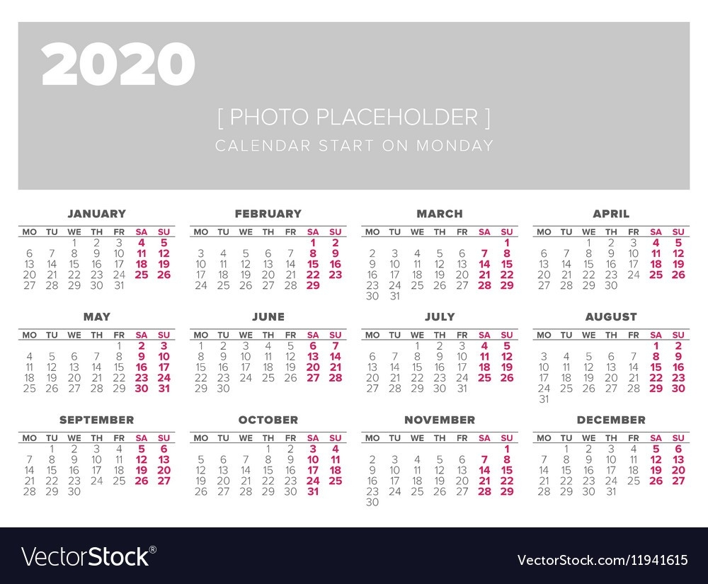 Calendar 2020 Year Design Template-2020 Calendar Template For Illustrator