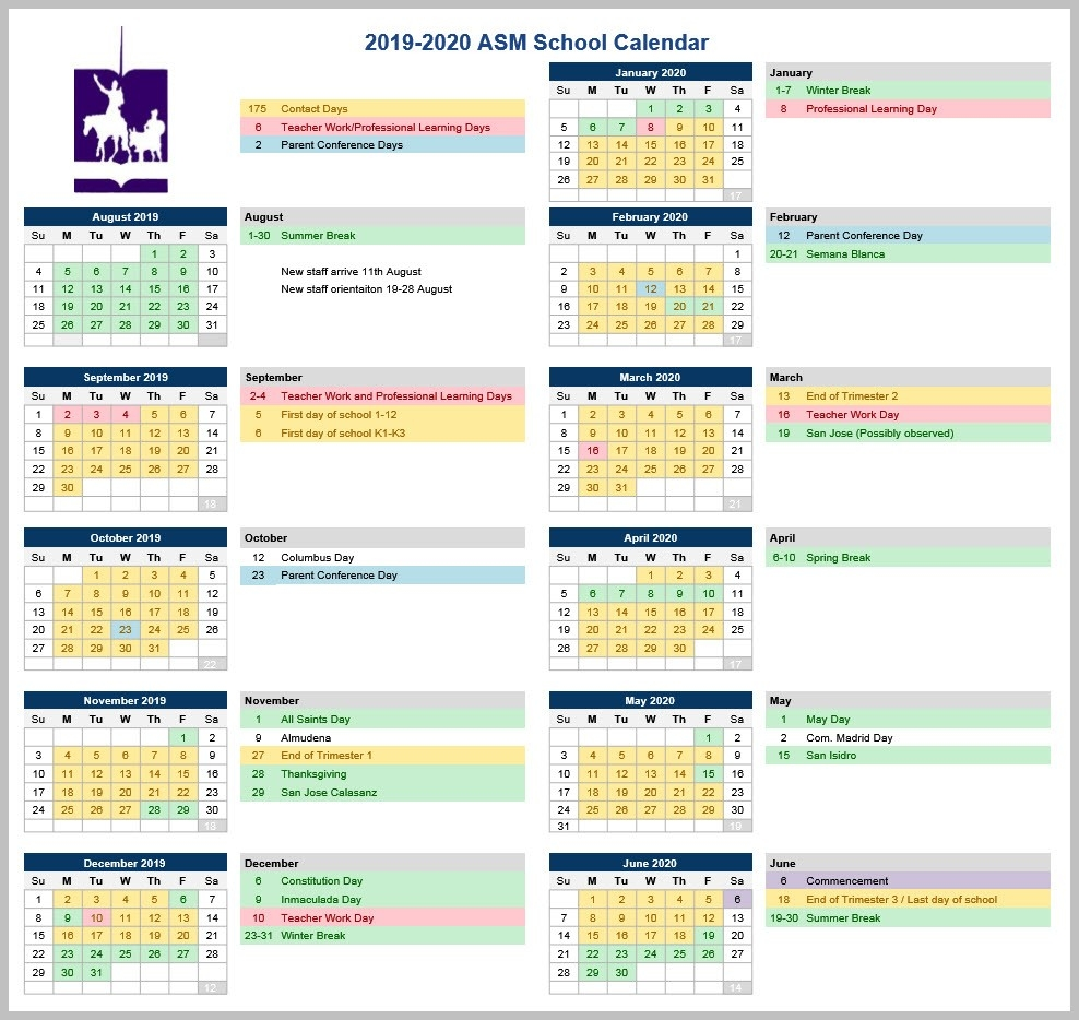 Calendar | American School Of Madrid-America School Holidays 2020 Calendar