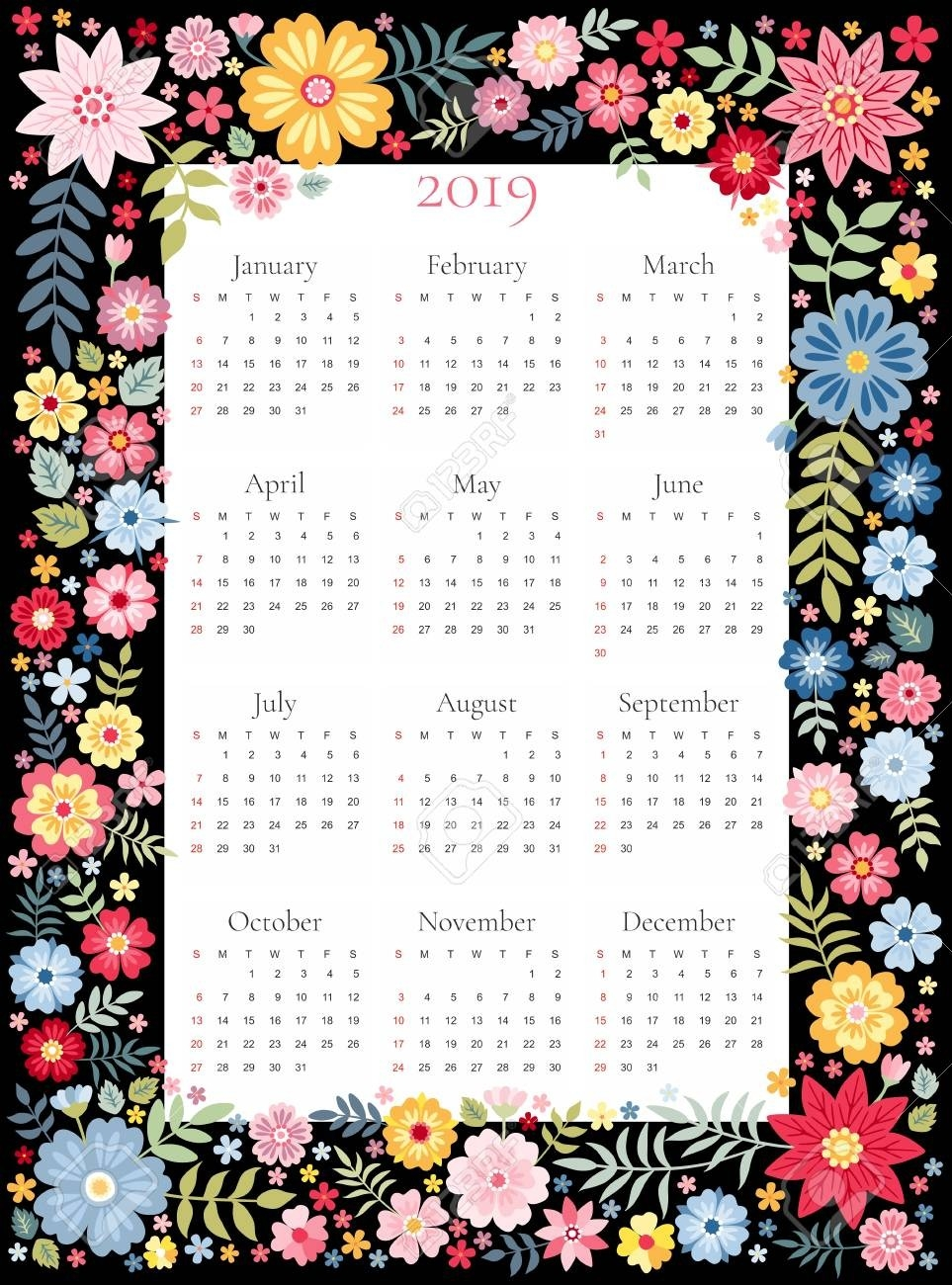 Calendar For 2019 Year. Vector Template In Floral Frame With..-Template For Calendars With Flowers