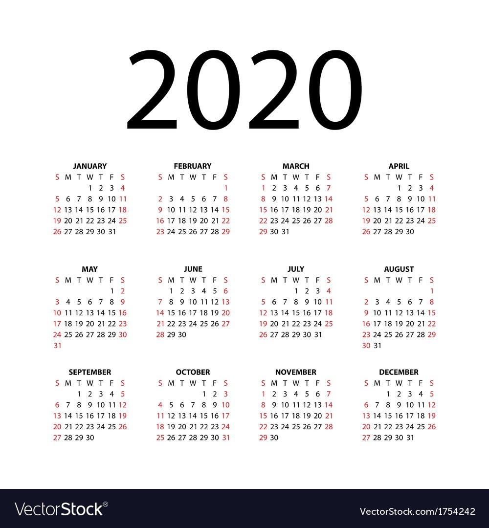 Calendar For 2020-2020 Calendar Template For Illustrator