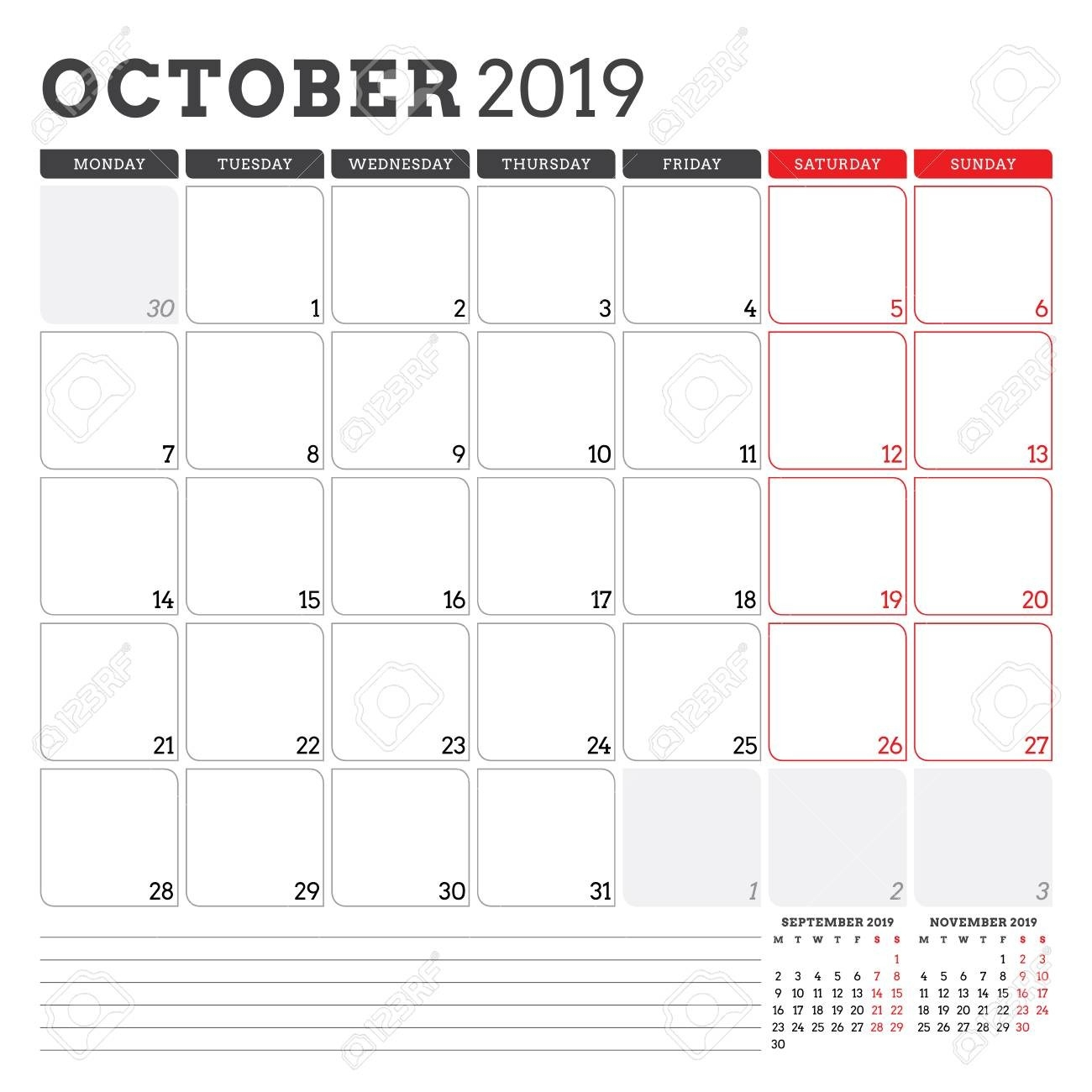 Calendar Planner For October 2019. Week Starts On Monday. Printable..-Monday Start Calendar Template