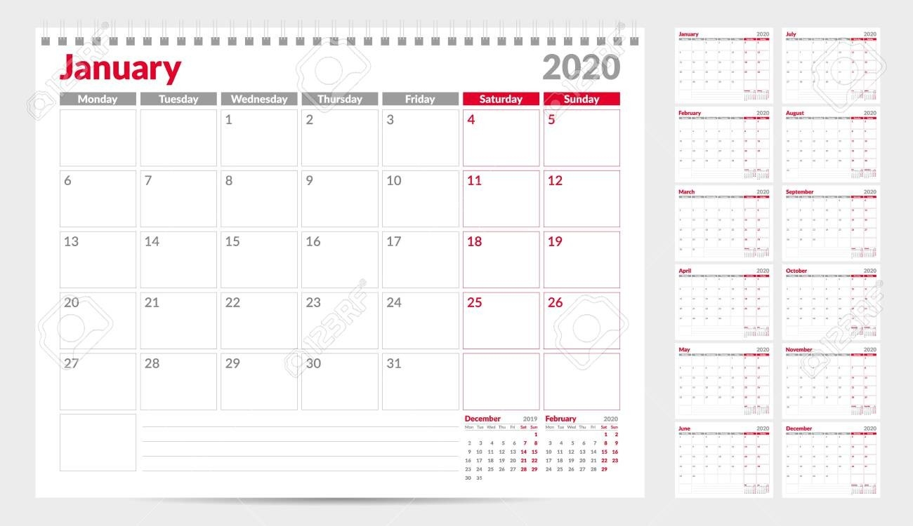 Calendar Planner Template 2020. Week Start From Monday. Set Of..-Blank Monthly Planner Starts On Monday