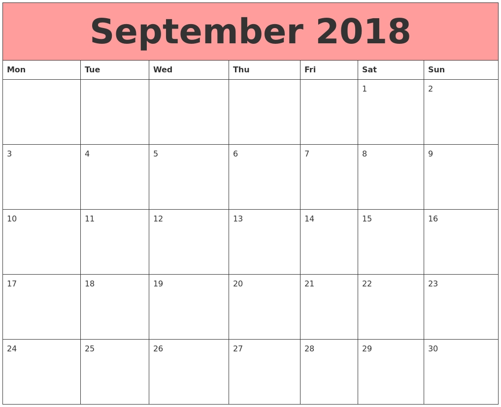 Calendar September 2018 Monday Start | Free Printable-Monday Start Calendar Template