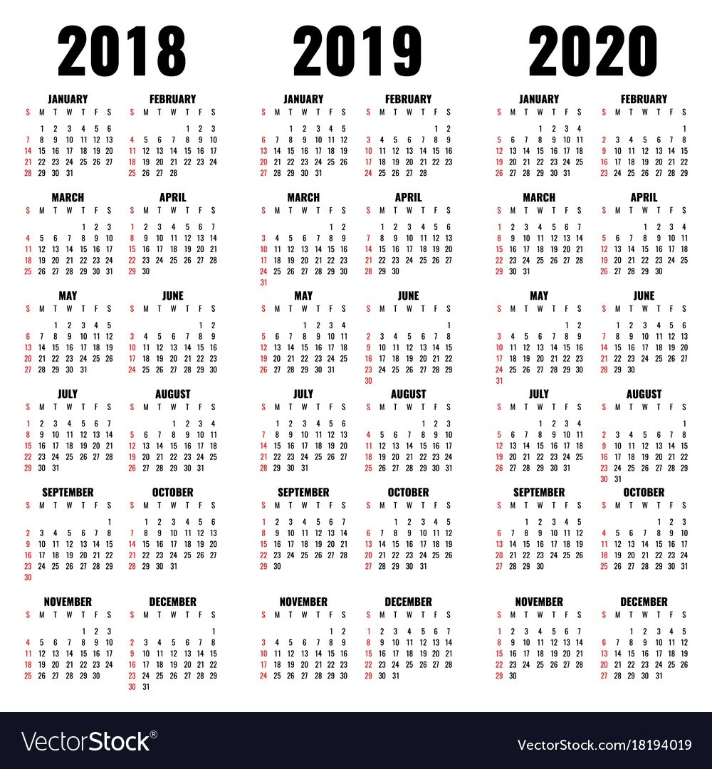 Calendar Template 2018 2019 And 2020 Years-2020 Calendar Template For Illustrator