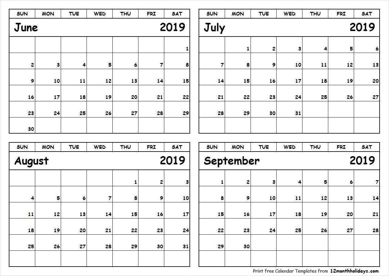 Calender 2019 Juli August September | Calendar 2019 Template-4 Month Blank Calendar Printable