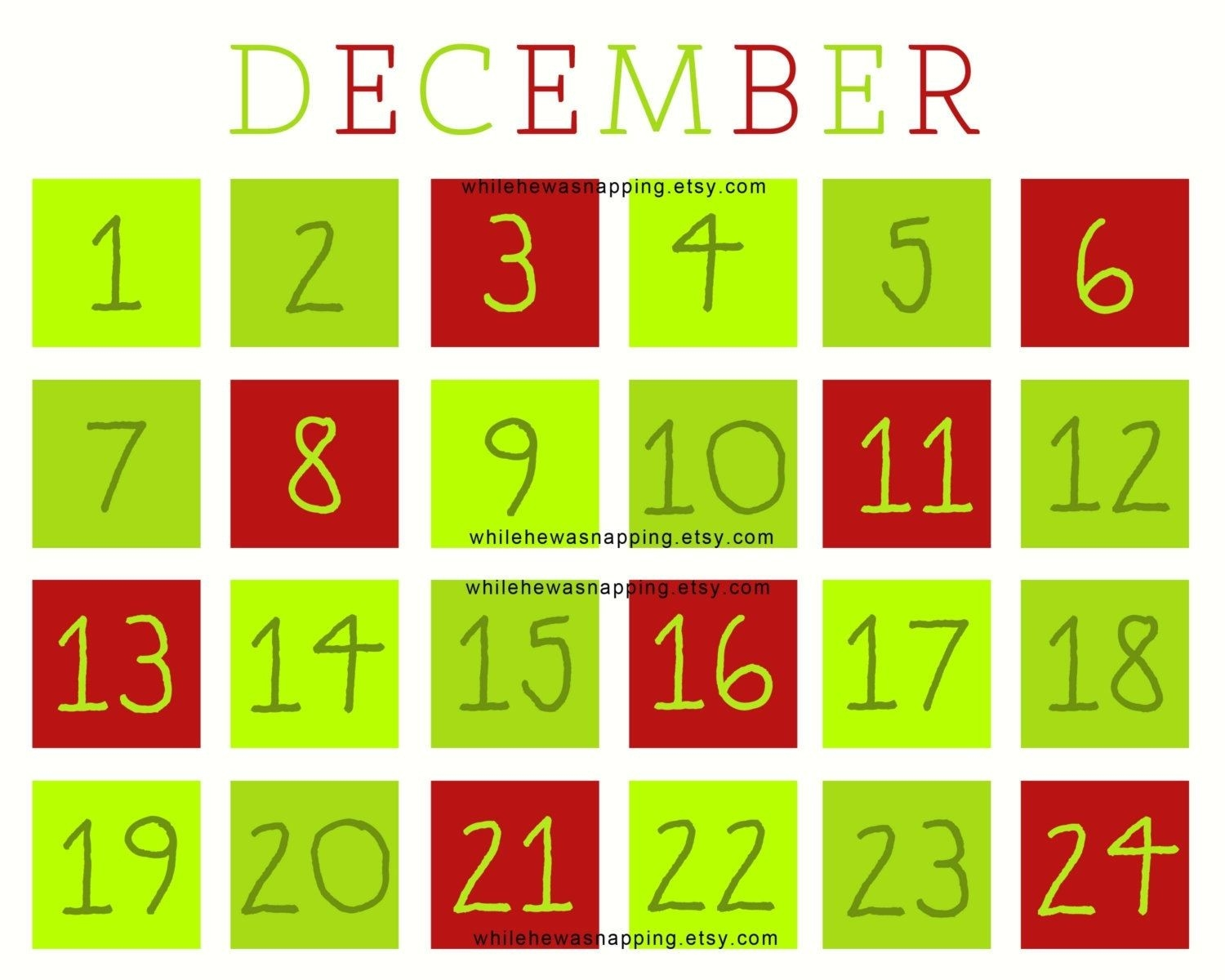 Christmas Countdown Printable Calendar | Printable Online-Microsoft Template Calendar Coundown