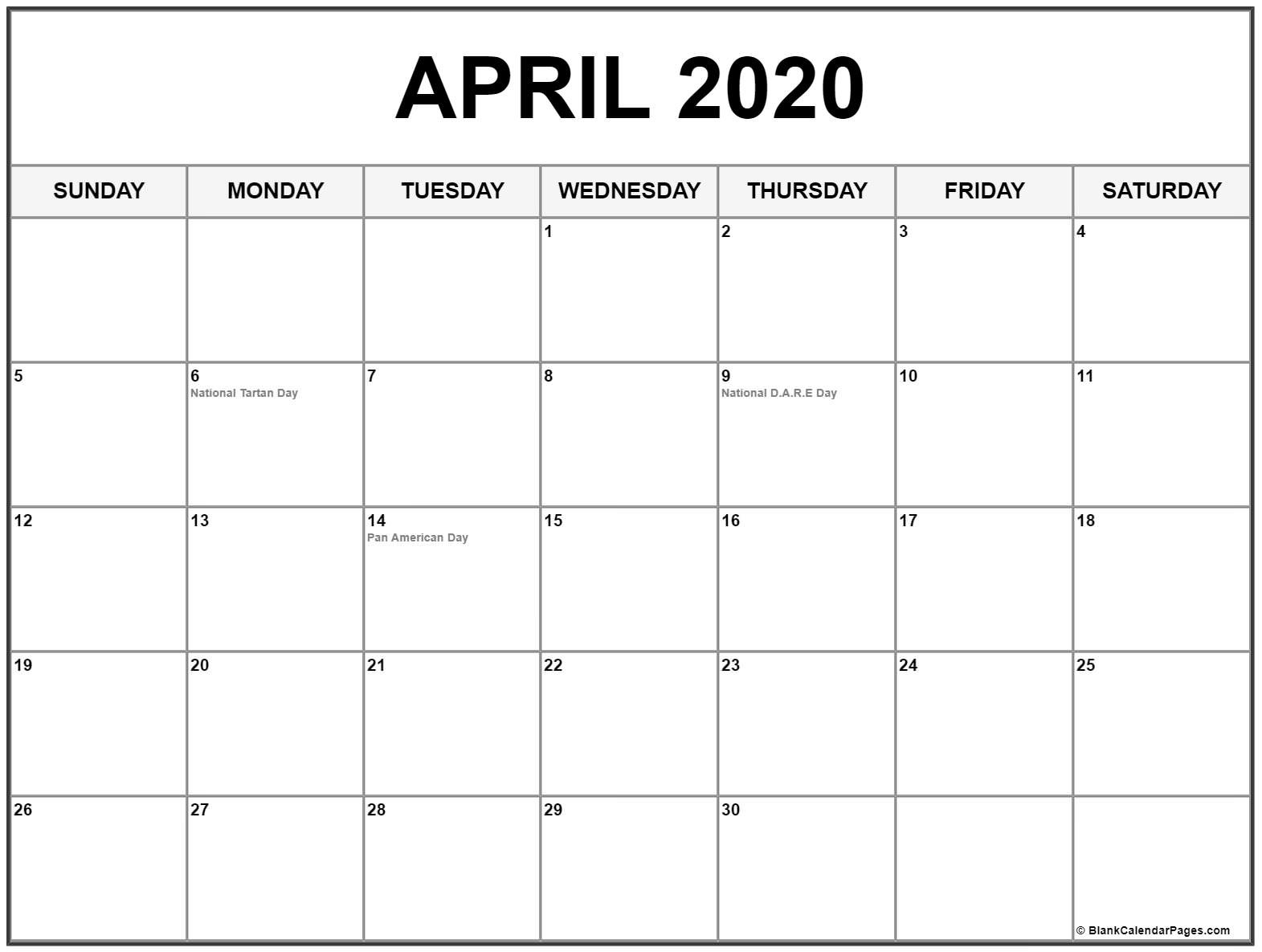 Collection Of April 2020 Calendars With Holidays-Printable 2020 Calendar With Holidays Usa