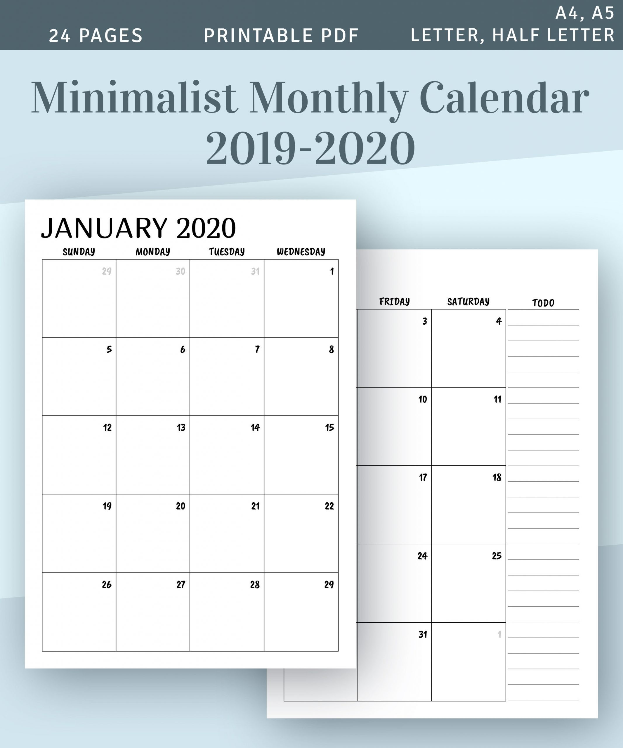 Color Pages: Phenomenal Two Page Monthly Calendar Image-Free Printable Two Page Monthly Calendar 2020