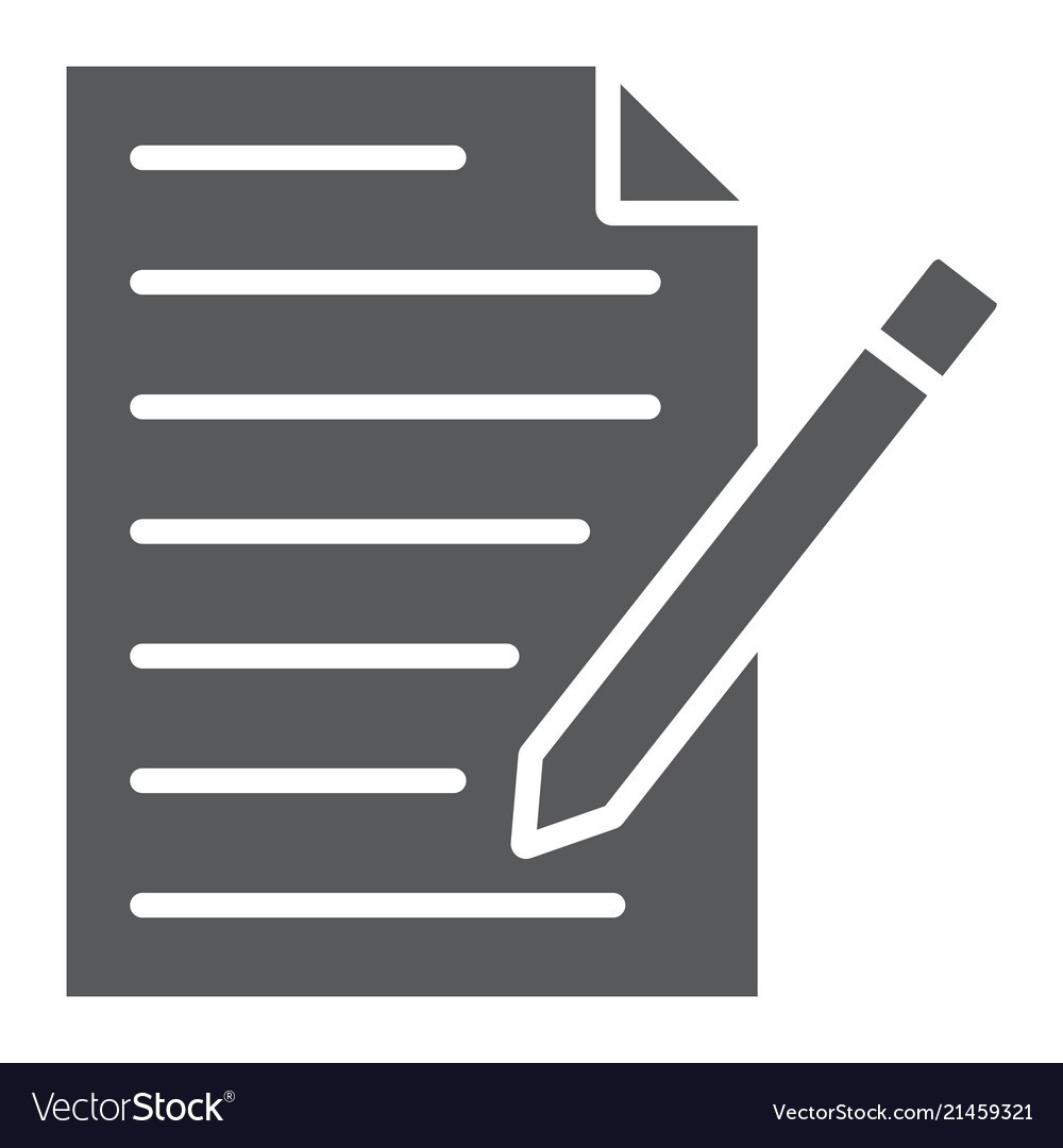 Contact Form Glyph Icon Paper And Pen Blank Sign-Glyphicon Icon Is Blank