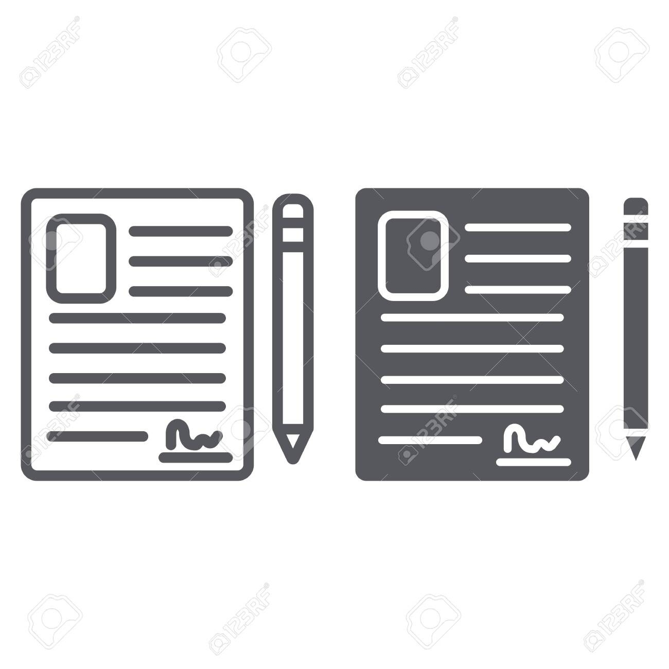 Contact Form Line And Glyph Icon, Blank And Register, Document..-Glyphicon Icon Is Blank