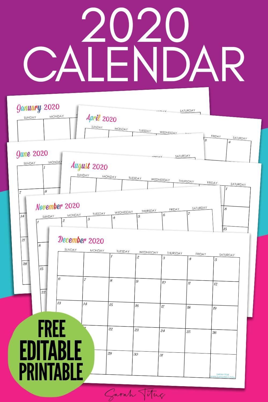Custom Editable 2020 Free Printable Calendars - Sarah Titus-2020 Calendar Template Fillable Pdf