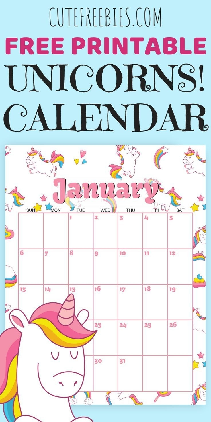Cute Unicorn 2020 Calendar - Free Printable | Free Printable-Disney Printable Calendar 2020 Monthly