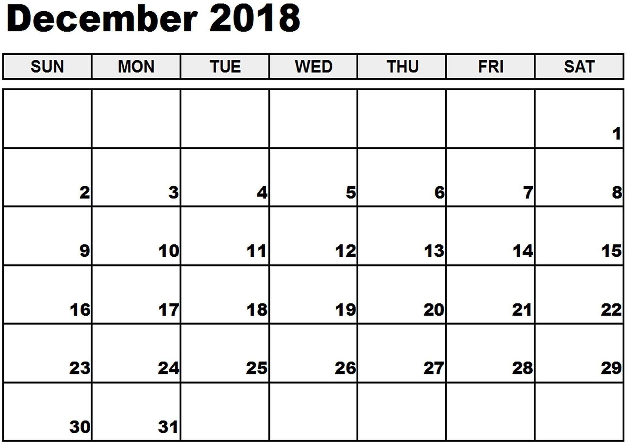 December 2018 Calendar Canada #canadacalendar-December Canada Printable Calendar Free Monthly