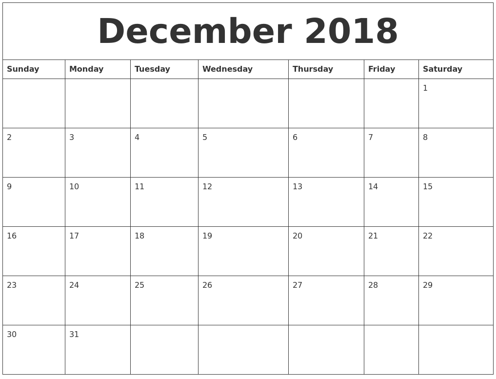 December 2018 Calendar With Holidays Canada | November-December Canada Printable Calendar Free Monthly