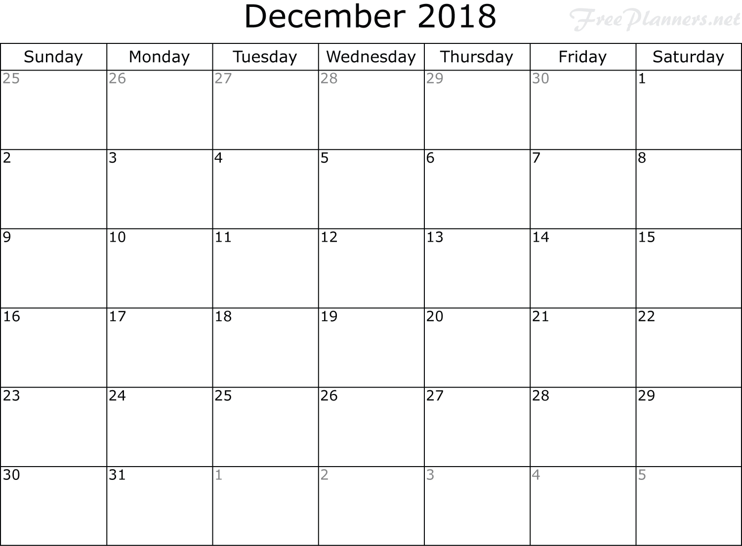December 2018 Planner-National Food Day Monthly Calendar