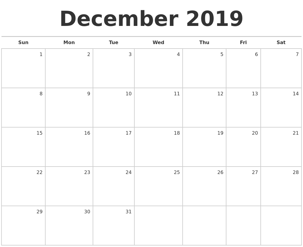December 2019 Blank Monthly Calendar-Blank Monthly Calendar Monday Start