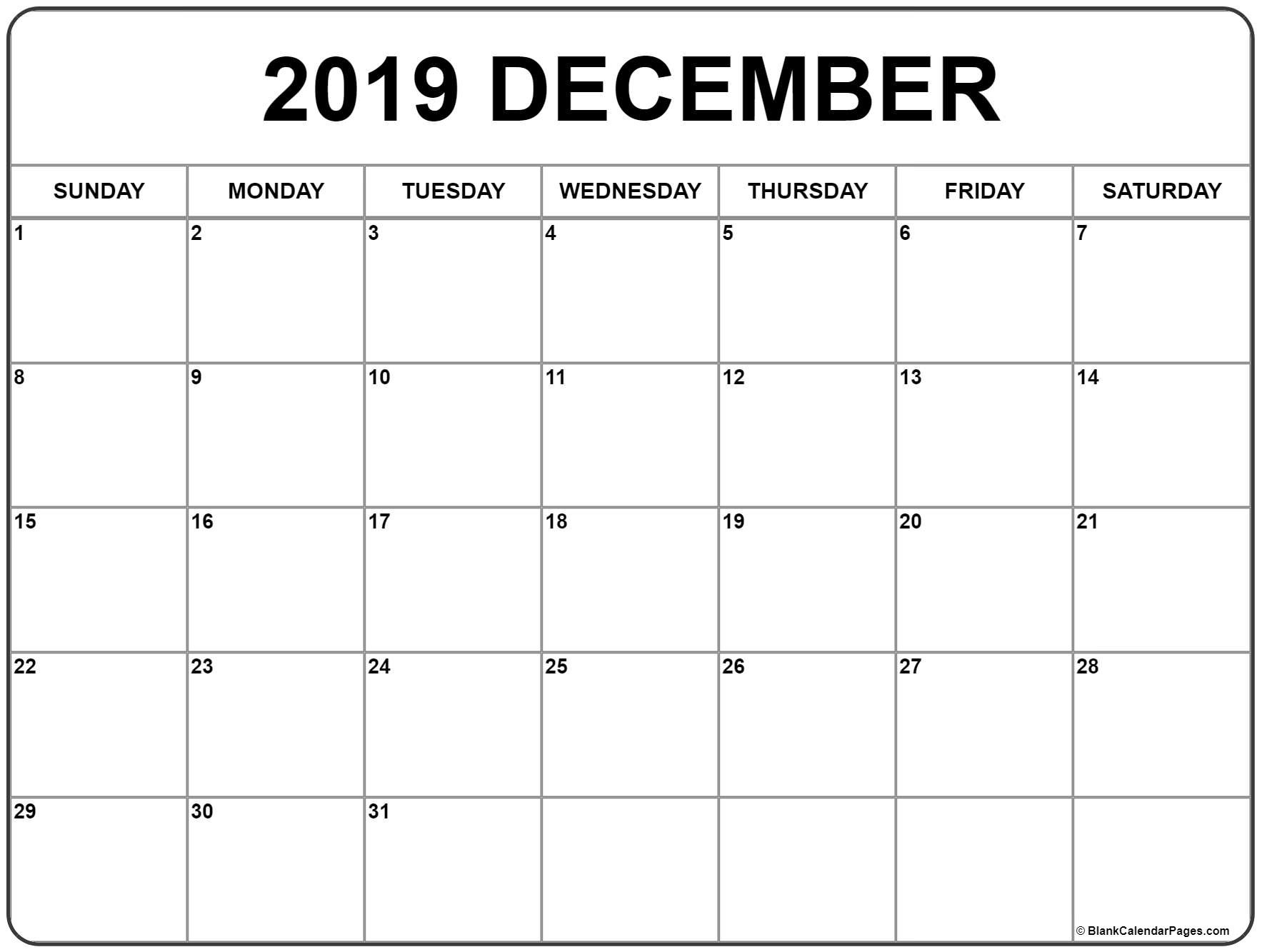 December 2019 Calendar | Free Printable Monthly Calendars-December Canada Printable Calendar Free Monthly