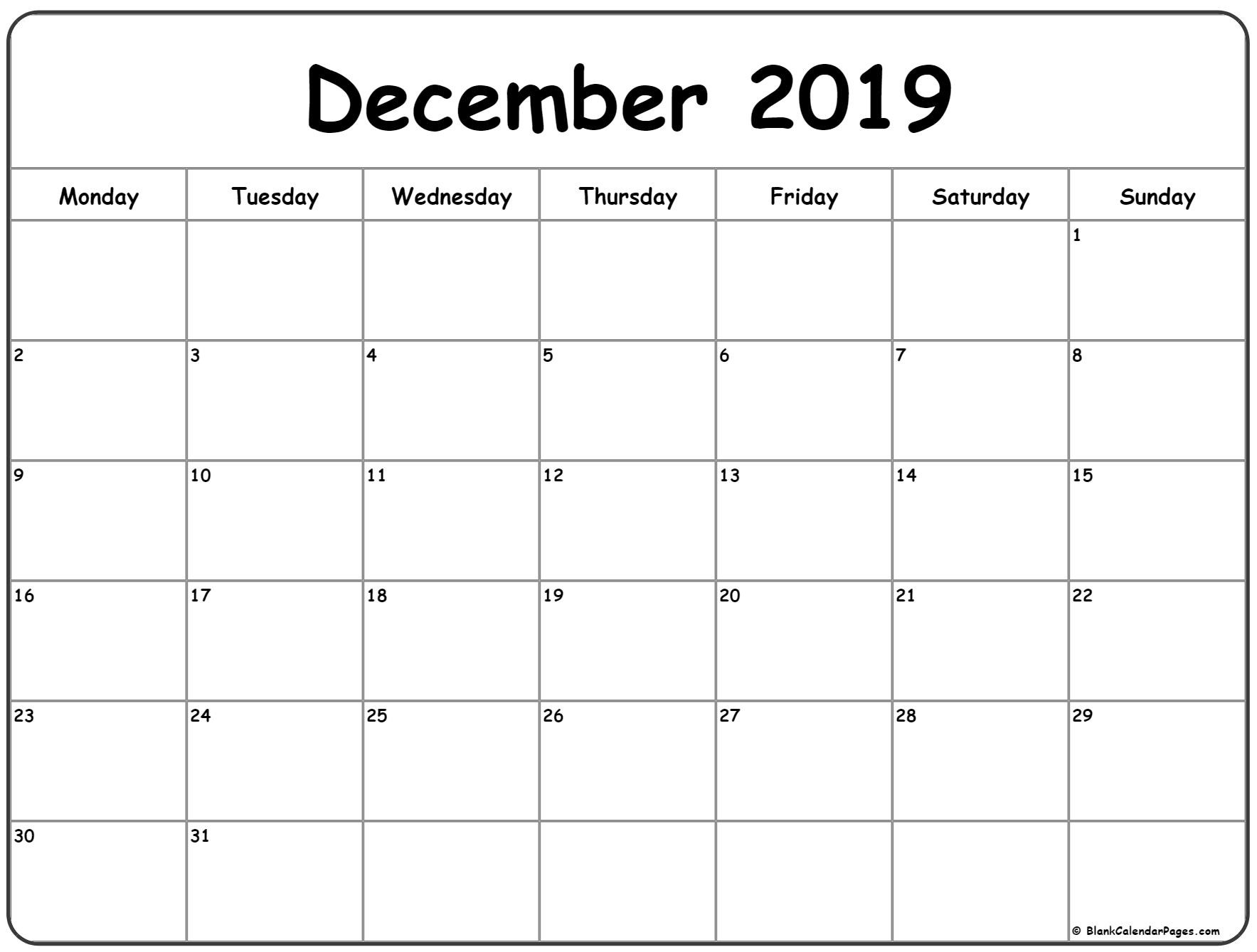 December 2019 Monday Calendar | Monday To Sunday-Monday Start Calendar Template