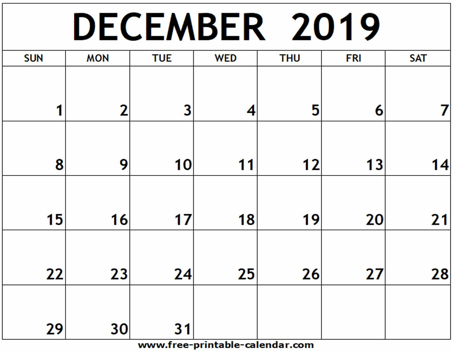 December 2019 Printable Calendar - Free-Printable-Calendar-December Canada Printable Calendar Free Monthly