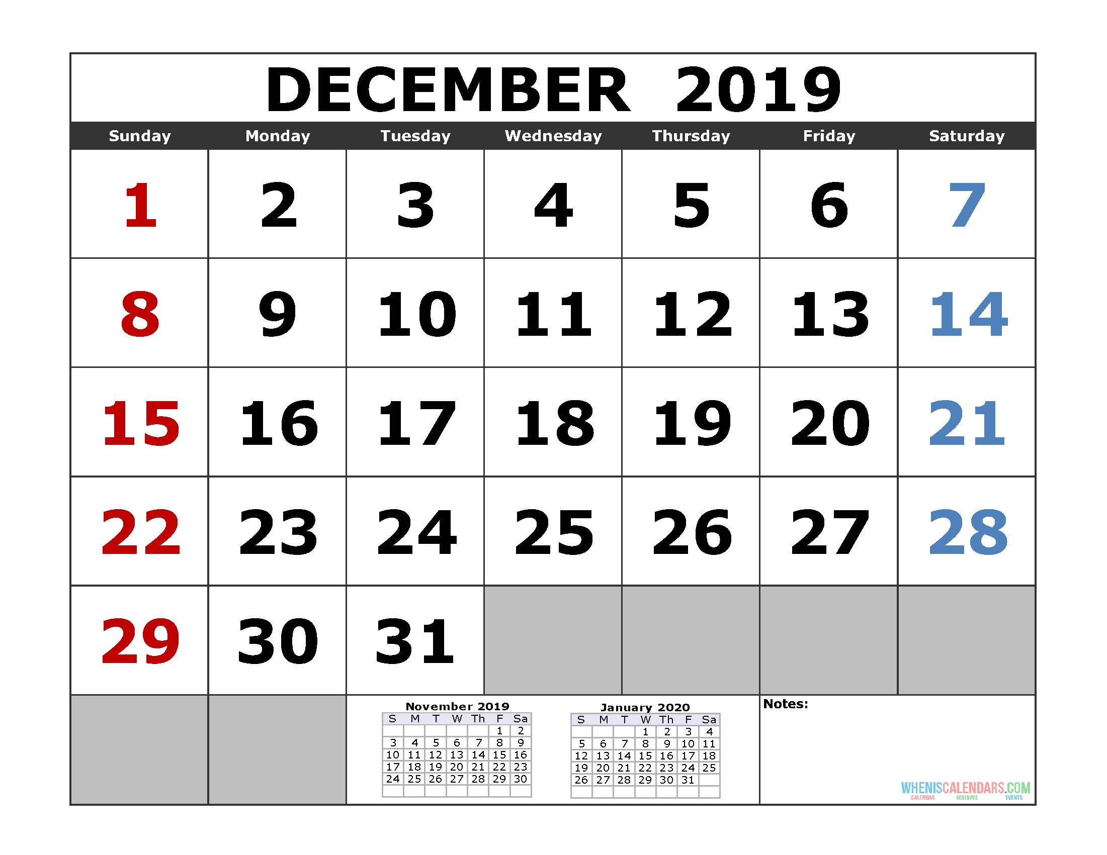 December 2019 Printable Calendar Template (3 Month Calendar-2 Monthly Printable Calender