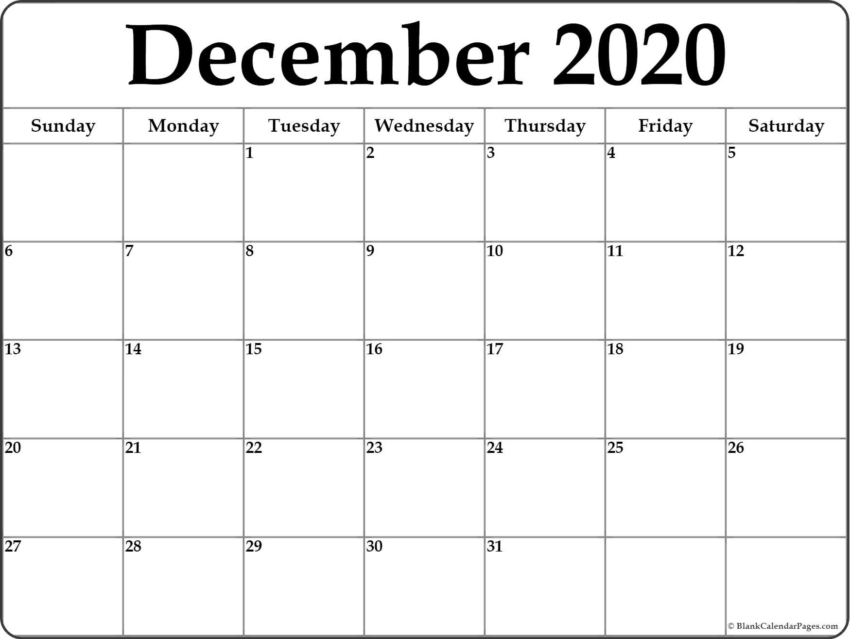 December 2020 Calendar | Free Printable Monthly Calendars-Blank 2020 Calendar Month By Month