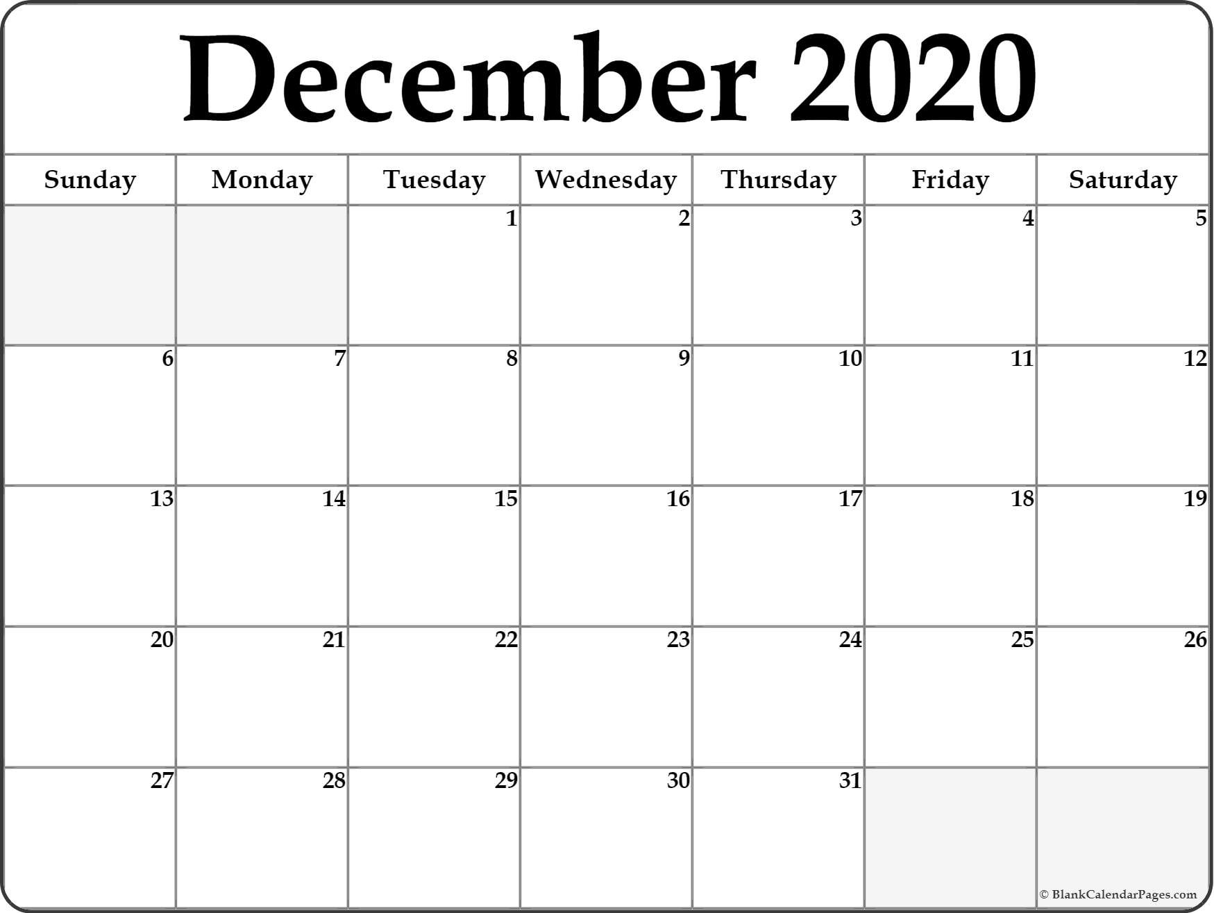 December 2020 Calendar | Free Printable Monthly Calendars-Blank 2020 Calendar Template