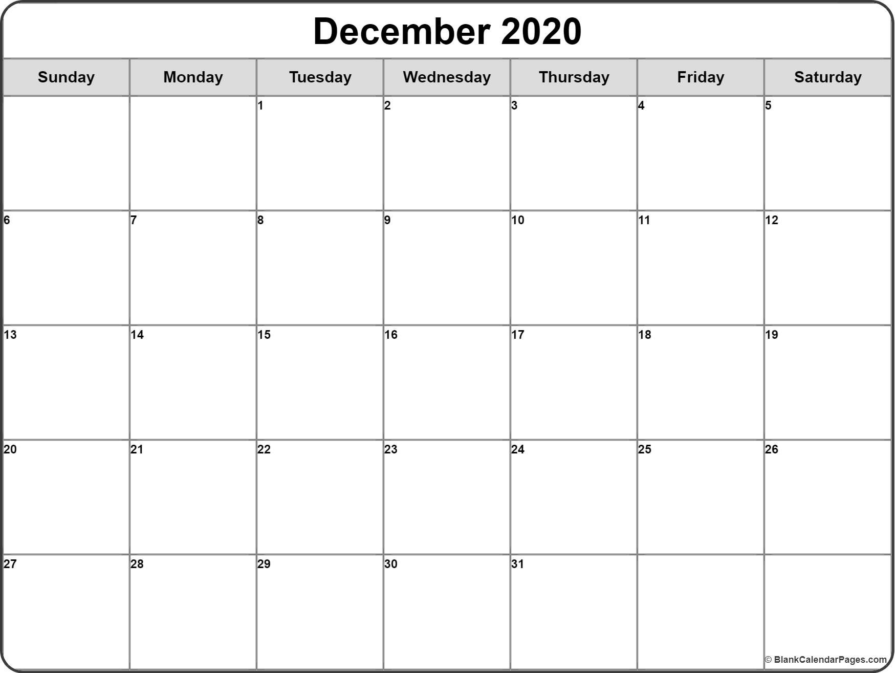 December 2020 Calendar | Free Printable Monthly Calendars-Free Printable Calendar 2020 Bill Paying Monthly