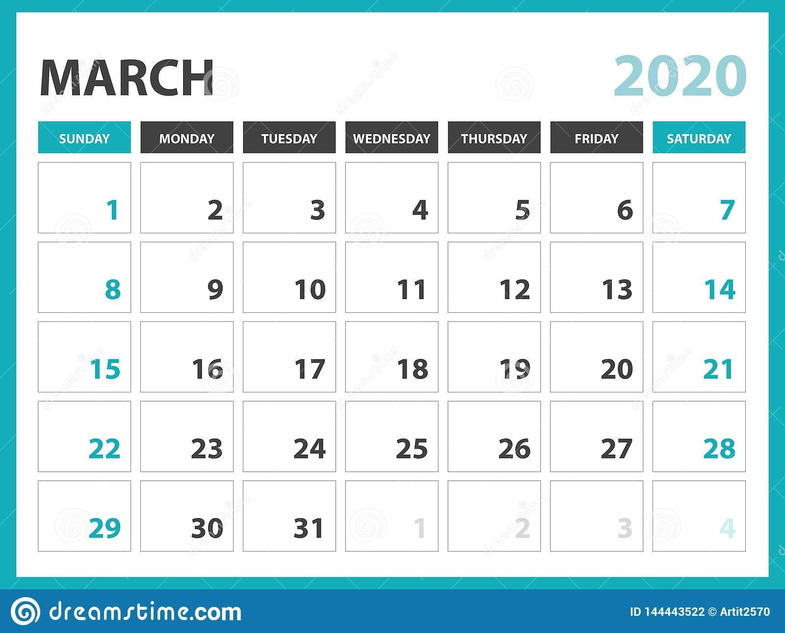 Desk Calendar Layout Size 8 X 6 Inch, March 2020 Calendar-8 X 10 Prinable Blank Monthly Calendar