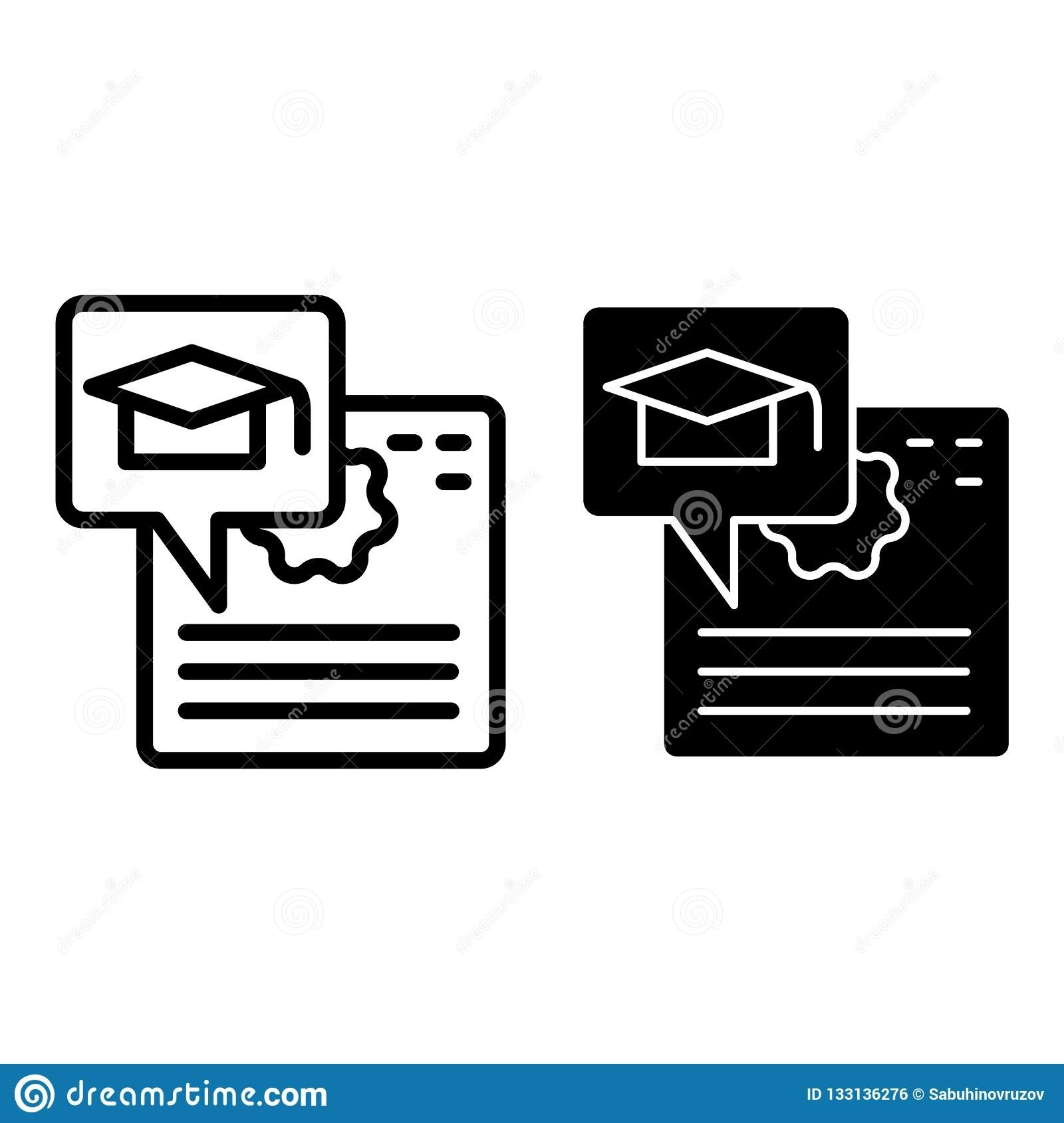 Diploma Line And Glyph Icon. Certificate And Graduate Hat-Glyphicon Icon Is Blank