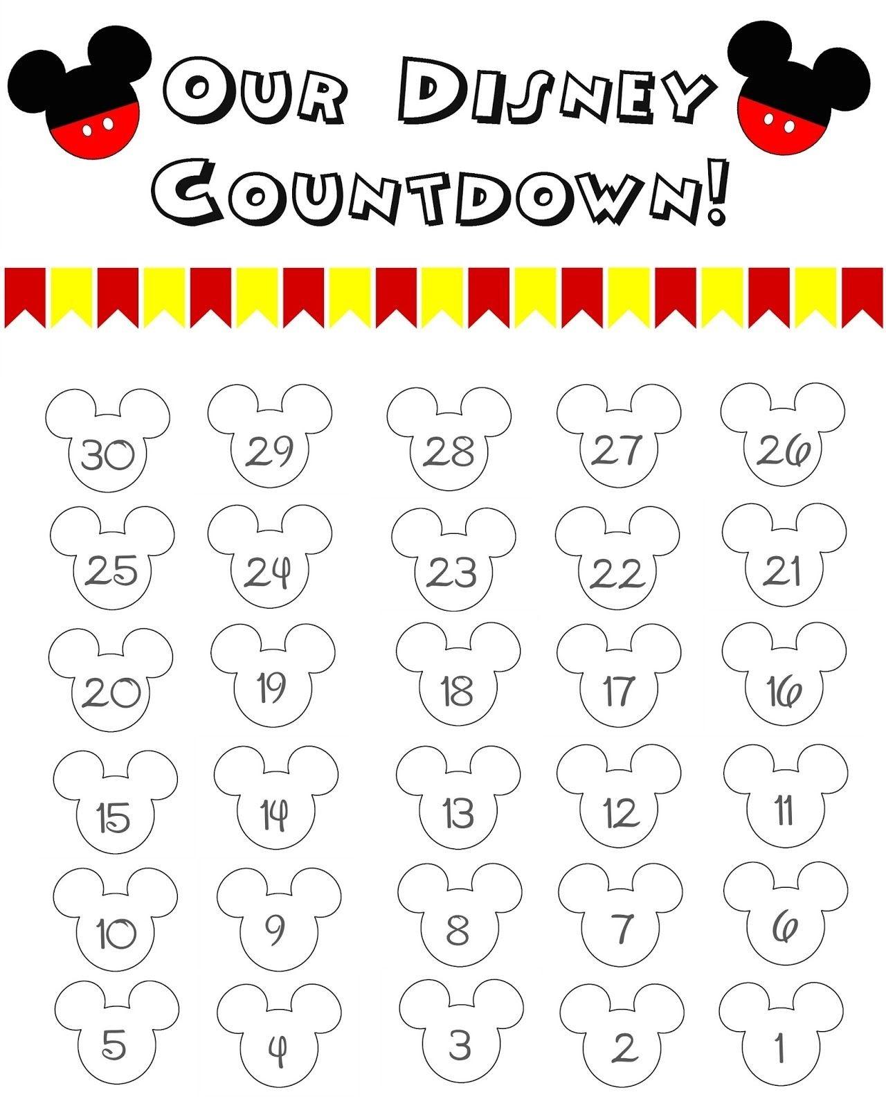 Disney World Countdown Calendar - Free Printable | Disney-Template Countdown Calendar Disney