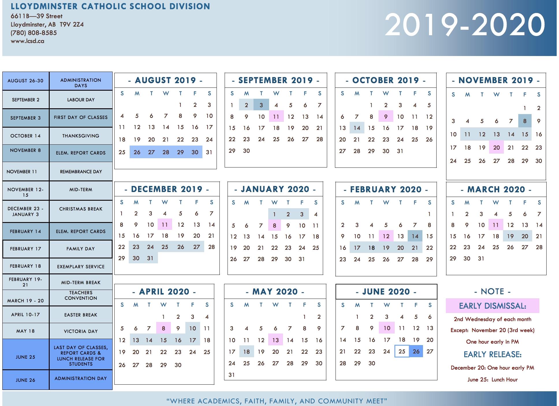 Division Calendar - Lloydminster Catholic School Division-America School Holidays 2020 Calendar