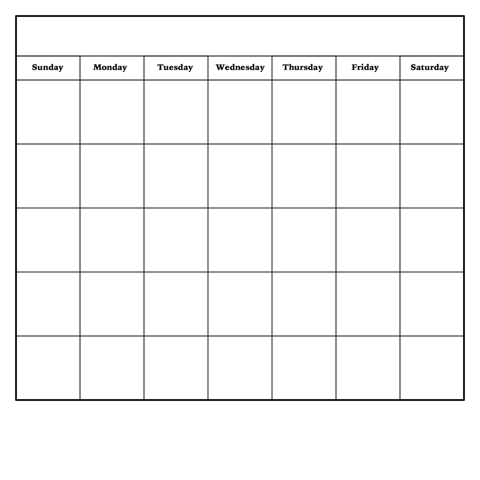 Diy Dry Erase Calendar   Blank Monthly Calendar Template-Printable Monthly Calendar Sunday To Saturday No Dates