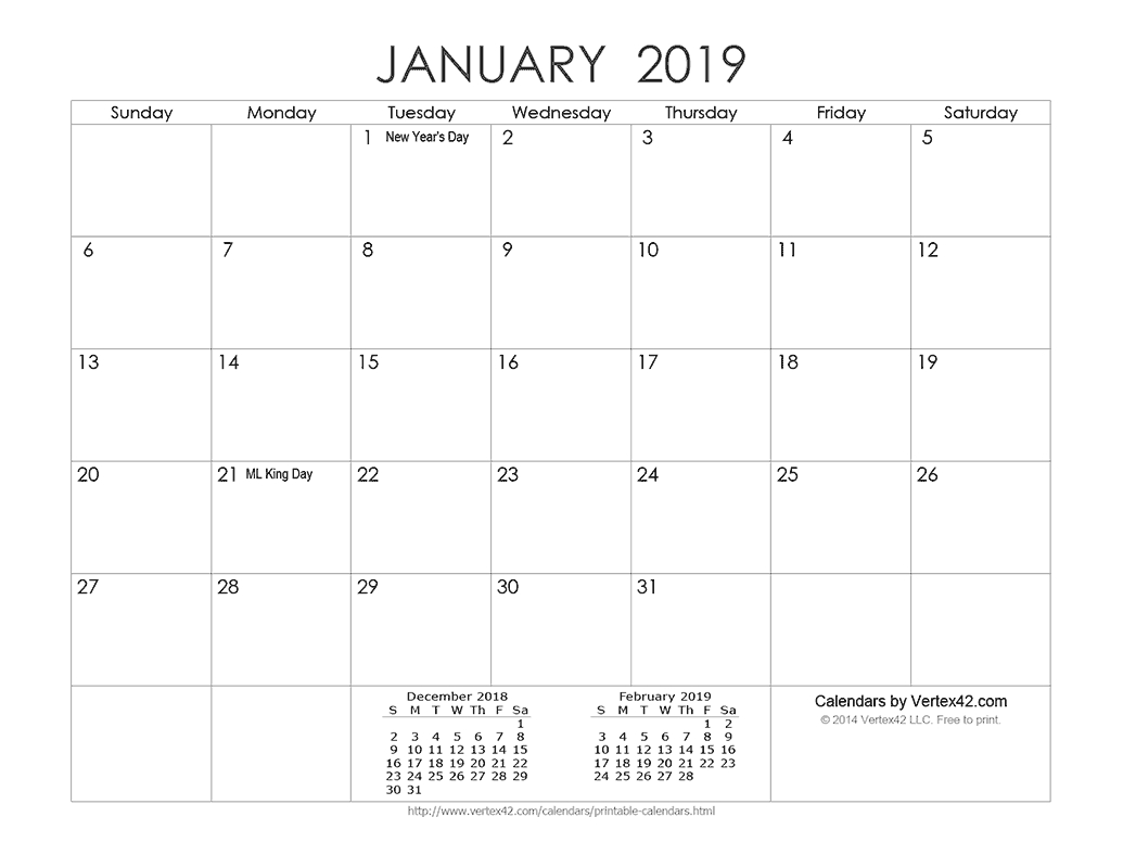 Download A Free Printable Ink Saver 2019 Calendar From-Calendar Template By Vertex42