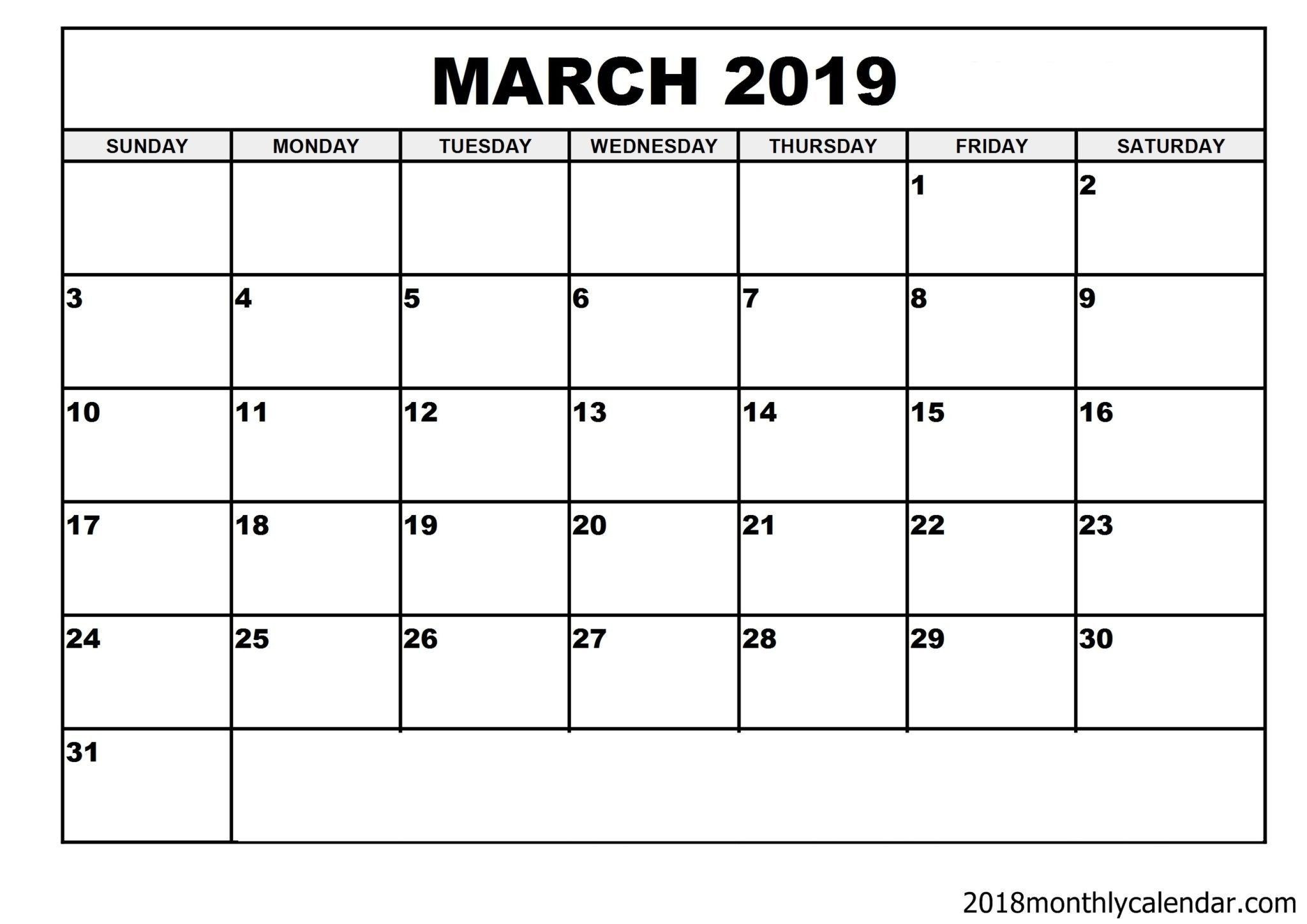 Download March 2019 Calendar – Blank Template - Editable-Calendar Template Fillable Pdf