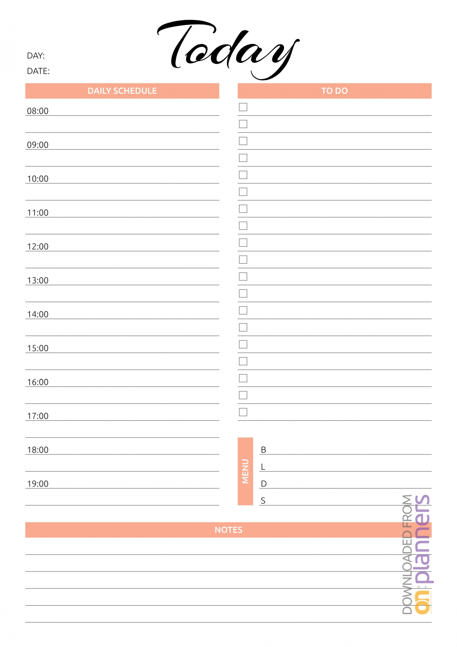 Download Printable Daily Planner Templates 5 In 1 Bundle Pdf-Daily Hourly Calendar Template 2020 Printable