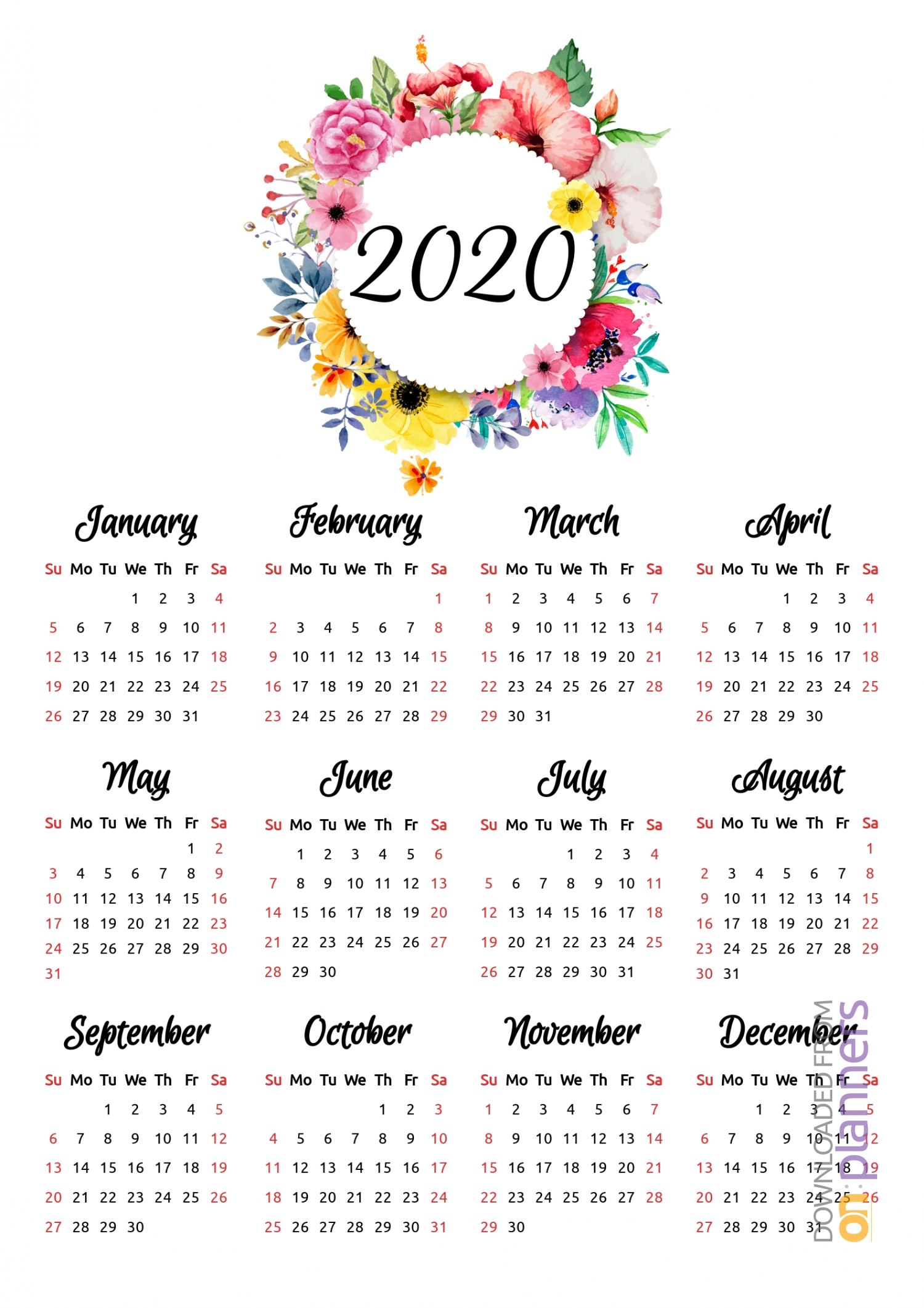 Download Printable Floral Yearly Calendar Pdf-Template For Calendars With Flowers