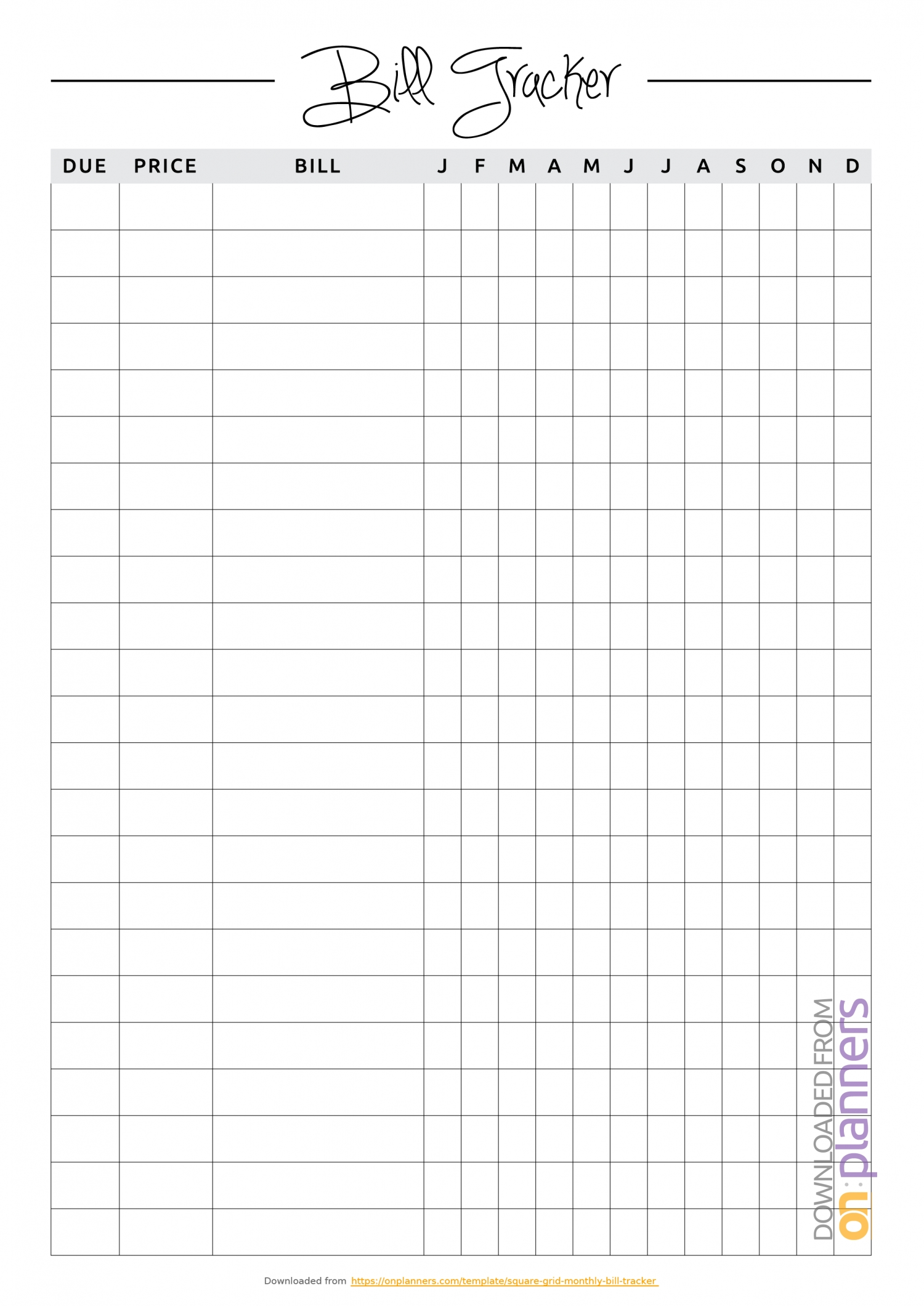 Download Printable Square Grid Monthly Bill Tracker Pdf-Monthly Bill List Template
