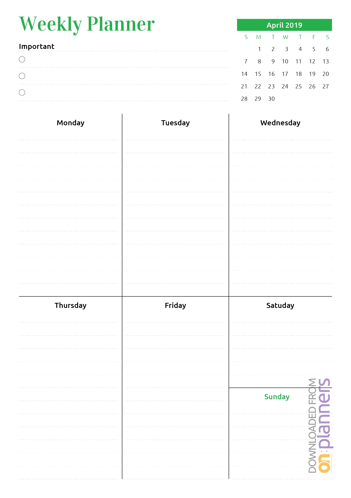 Download Printable Week At A Glance Planner With Calendar Pdf-8 Week Blank Calendar Printable