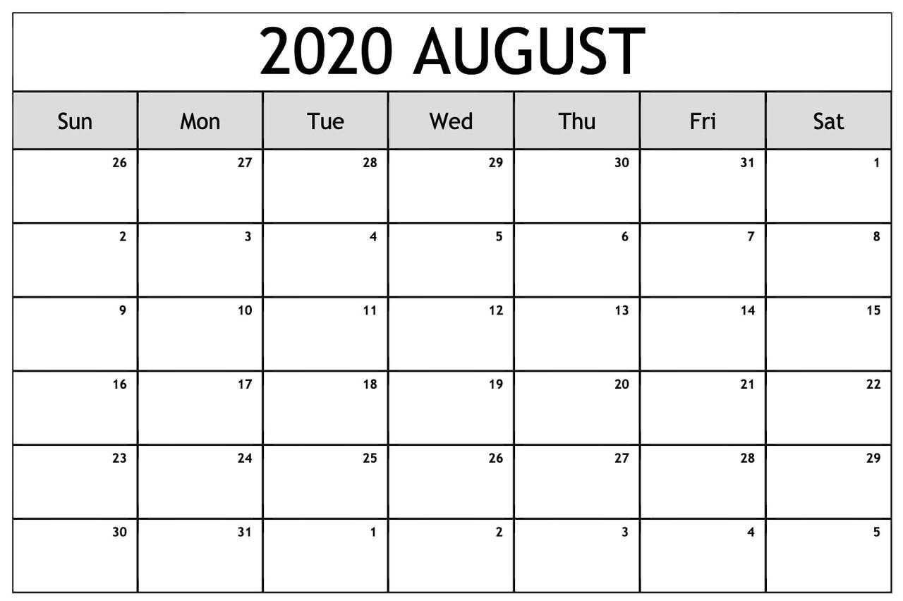 ❤️free 2020 August Printable Calendar Templates [Pdf-2020 Calendar Template Fillable Pdf