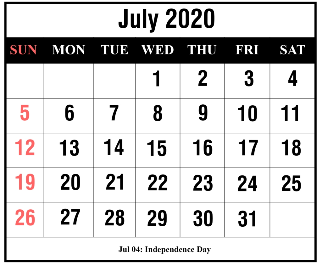 ❤️free July 2020 Printable Calendar Templates [Pdf, Excel-5 Day Calander Template July 2020