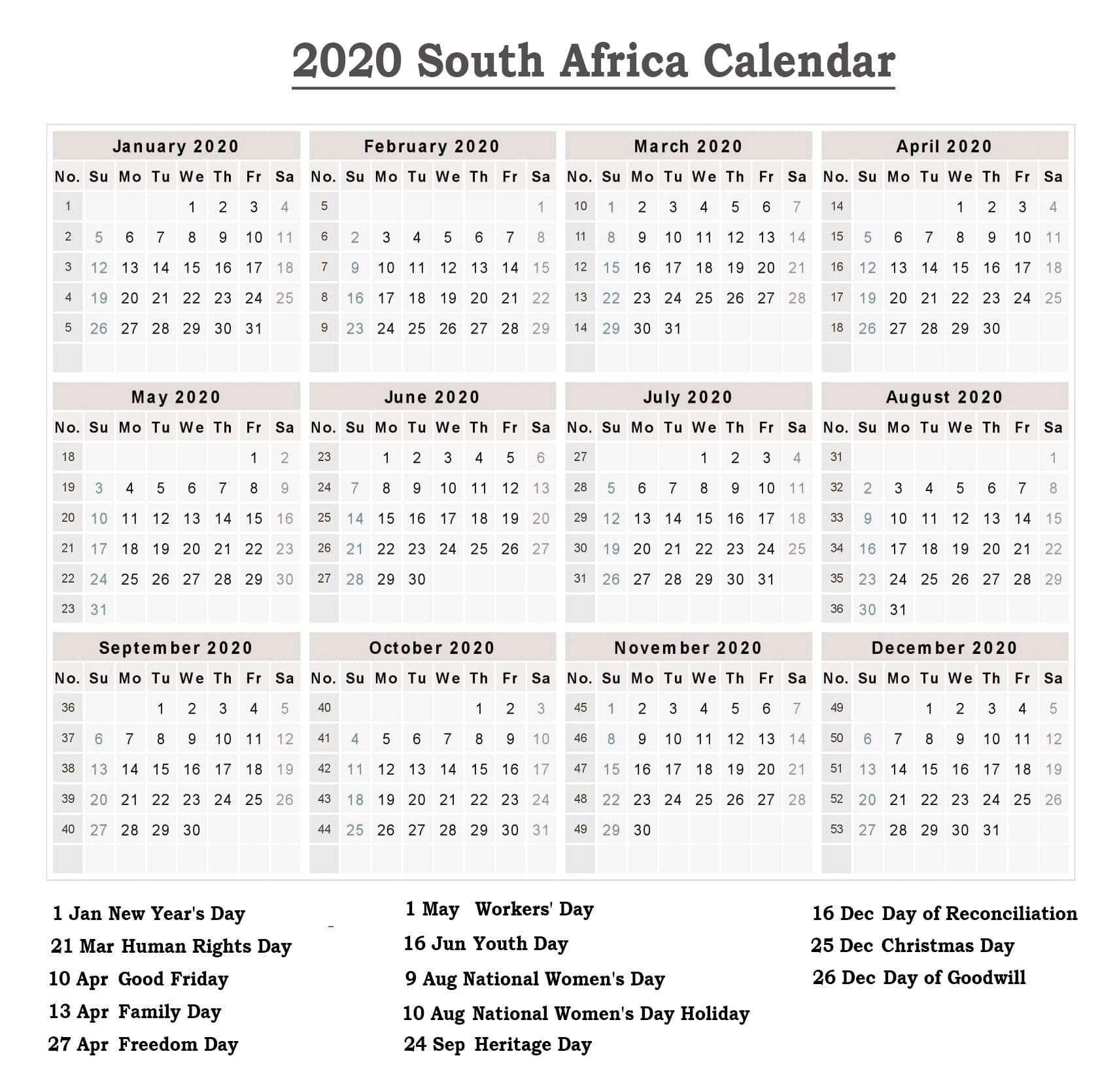❤️free Public Holidays Calendar 2020 South Africa-South Africa Holidays 2020