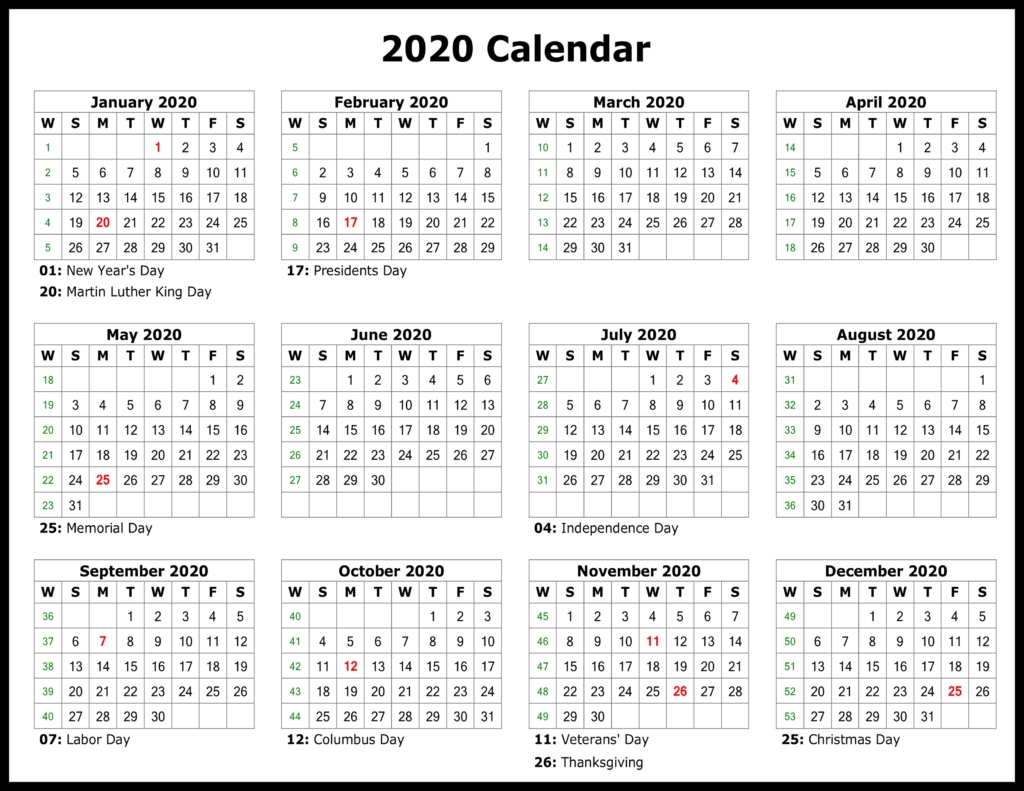 ❤️free Yearly 2020 Printable Calendar Templates [Pdf, Word-2020 Calendar With Holidays Listed