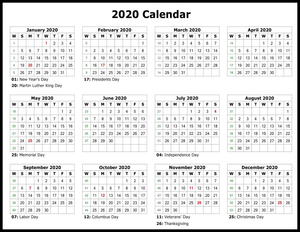 ❤️free Yearly 2020 Printable Calendar Templates [Pdf, Word-Employee Vacation Calendar Template 2020 Printable Free