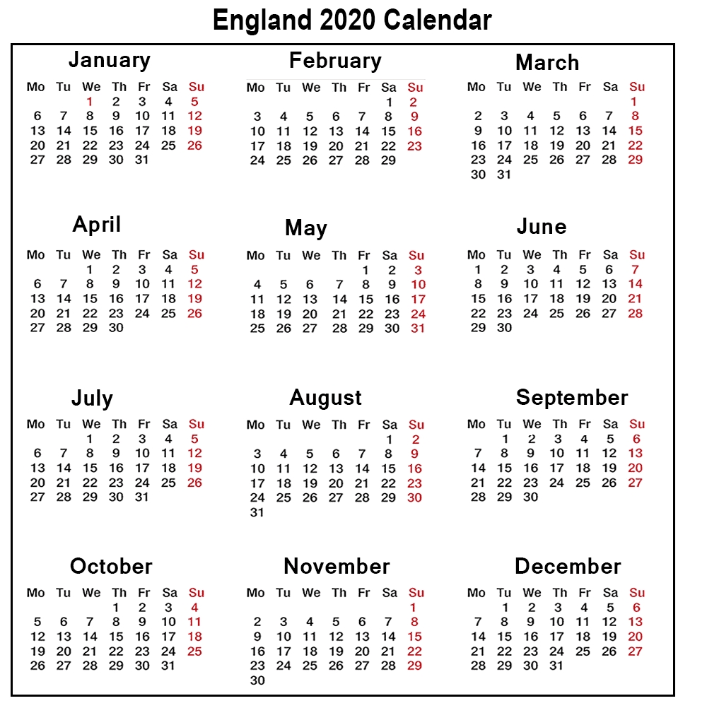 ❤️printable Calendar 2020 Templates With England Public-Printable Calendar 2020 With Bank Holidays
