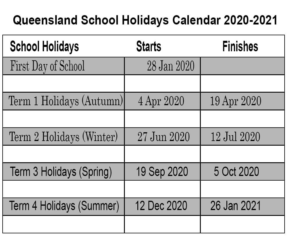❤️qld School Holidays 2020 Calendar Template-2020 Printable Qld School Holidays