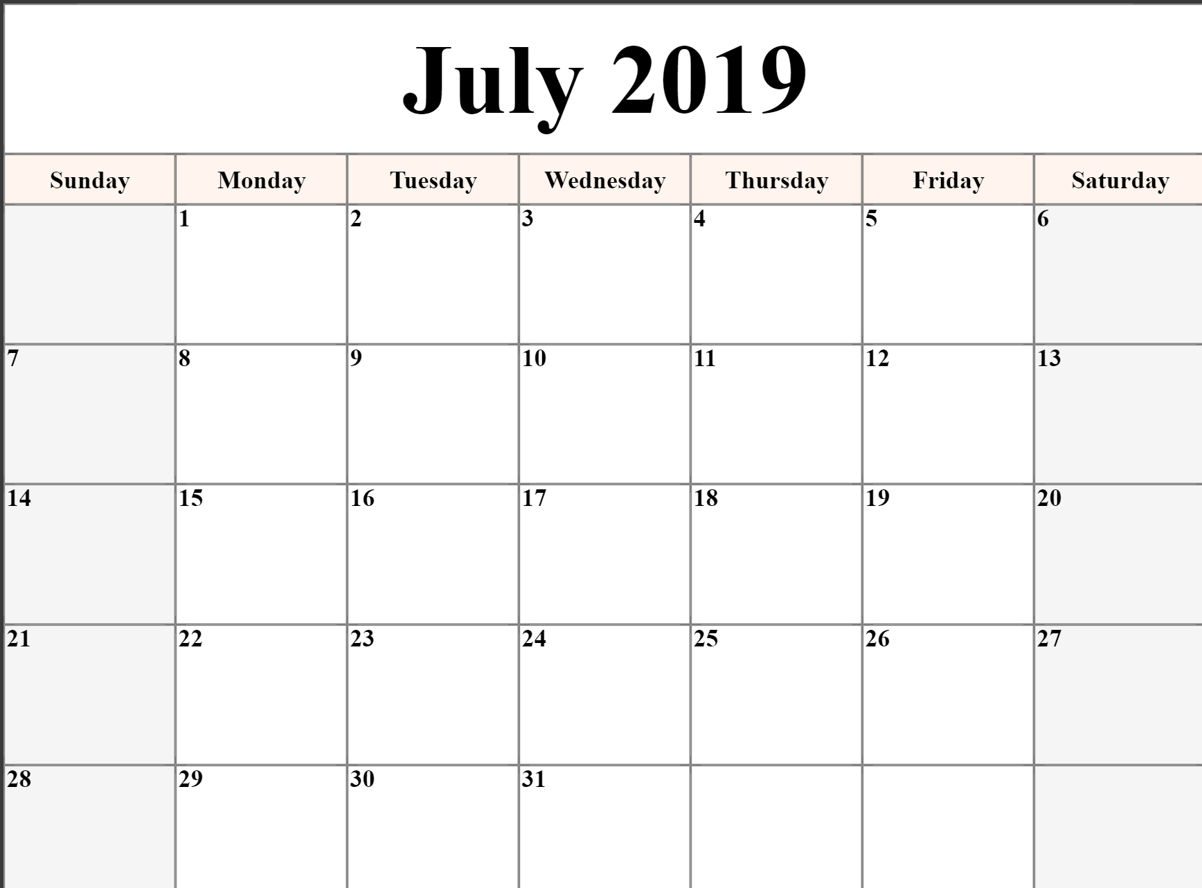 Editable July 2019 Calendar Blank Template Printable Word-Calendar Template Fillable Pdf