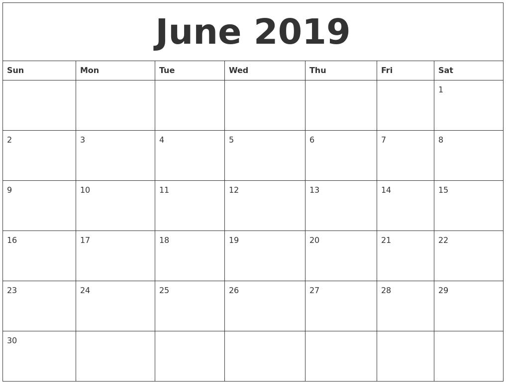 Editable June 2019 Calendar In Pdf, Word, And Excel-Calendar Template Fillable Pdf