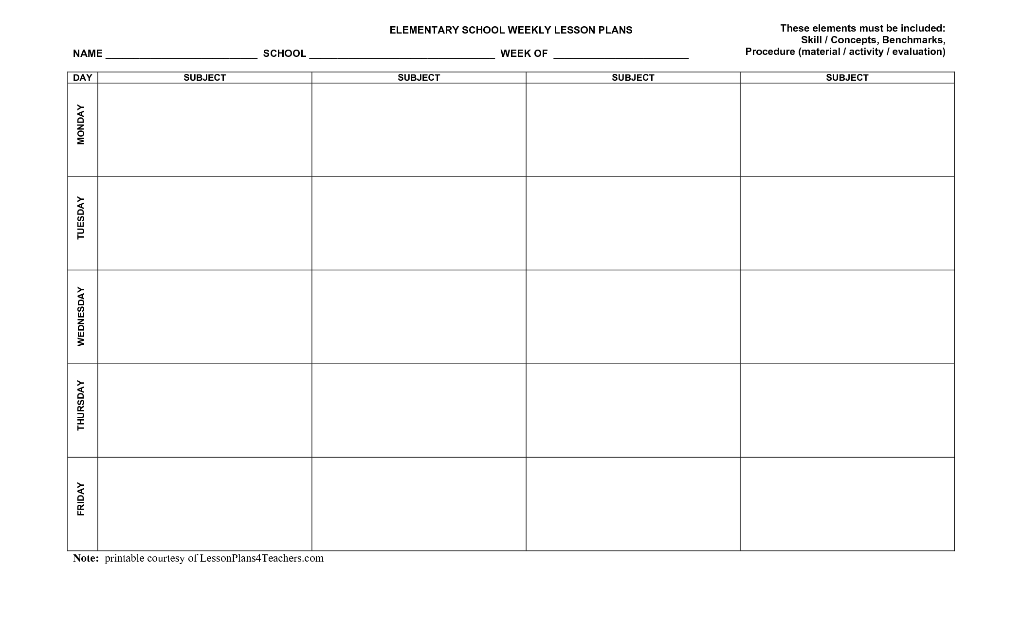 Elementary Lesson Plan Template | Weekly Elementary Lesson-Calendar Lesson Plan Template