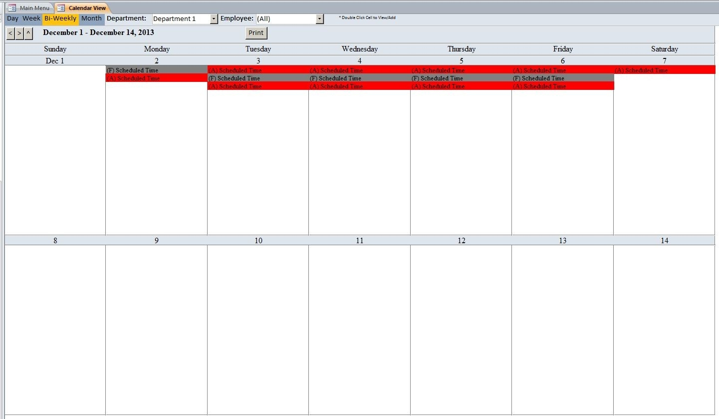 Employee Vacation Tracking Database Template | Employee-Employee Vacation Calendar Template