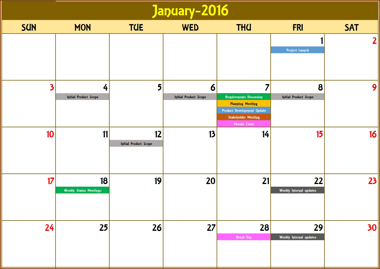Excel Calendar Template - Excel Calendar 2019, 2020 Or Any-Excel Countdown Calendar Template